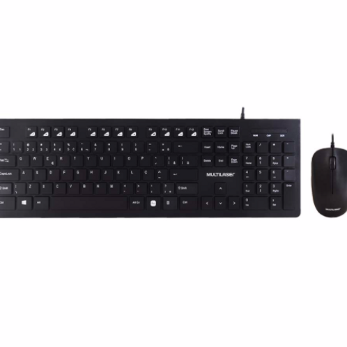 Kit Teclado e Mouse Multilaser com Fio Multimídia USB Slim Preto - TC240