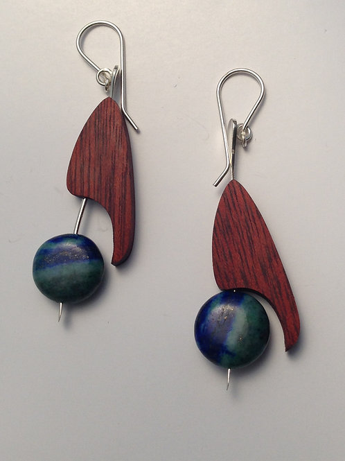 Toucan - Wood and Azurite Earrings