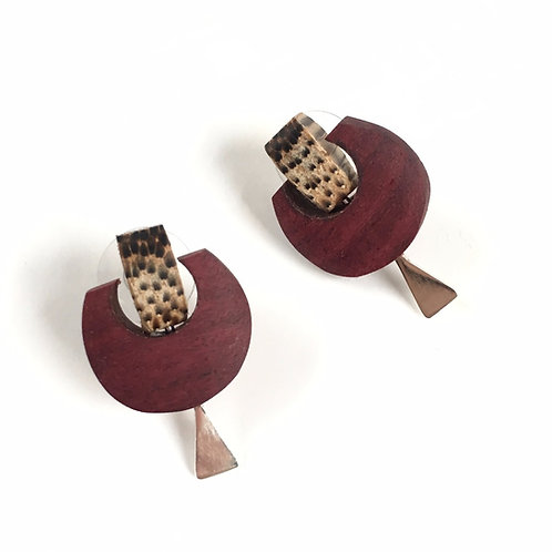 Studs - Wood Earringswith Macana