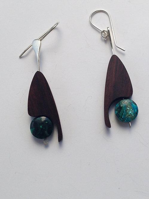 Toucan - Wood / Chrysocolla/Malachite Earrings