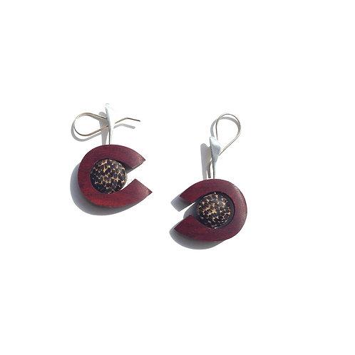 Abacus -  Round Wood Earrings