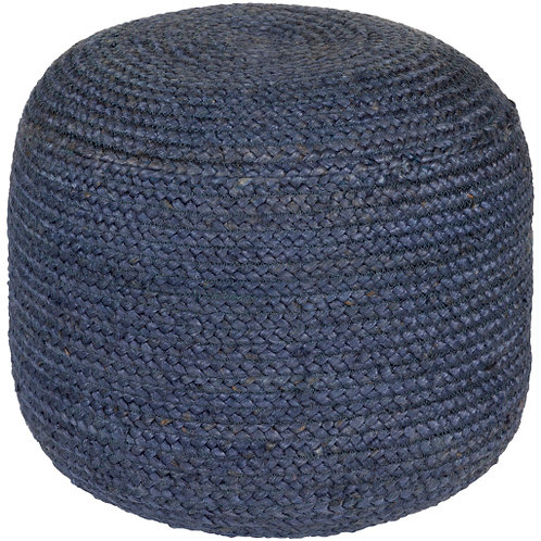 DARK BLUE JUTE POUF