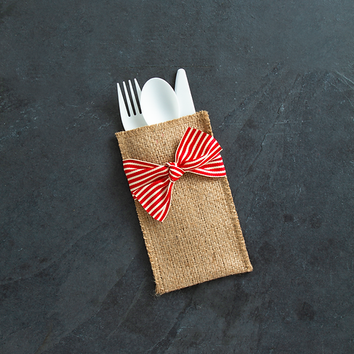 Red Stripe Ribbon Cutlery Pouches