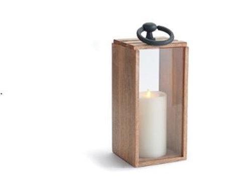 Wood Lantern with Iron Handle