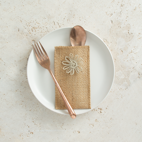 Jute Flower Cutlery Pouches