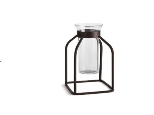 Small Iron Vase with Glass Insert
