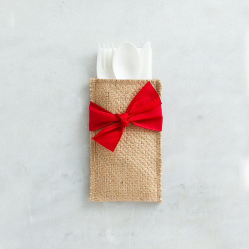 Red Ribbon Cutlery Pouches