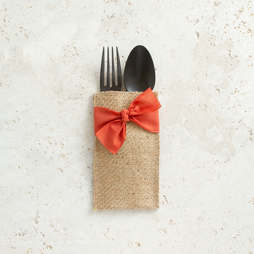 Orange Ribbon Cutlery Pouches