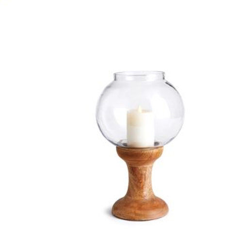 Candle on Wooden Stand with Glass Vase