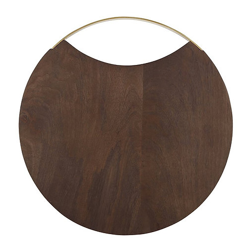 "Wood and Brass Board, 12"" diameter"