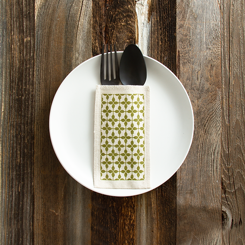 Green Print Cutlery Pouches