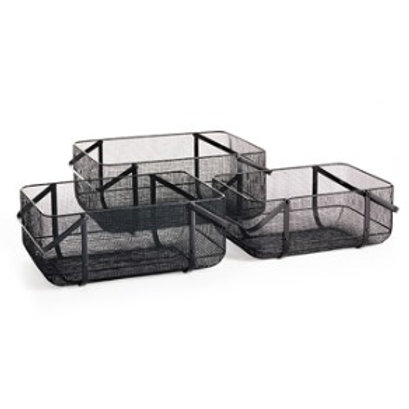 Black Wire Mesh Nesting Baskets with Handles