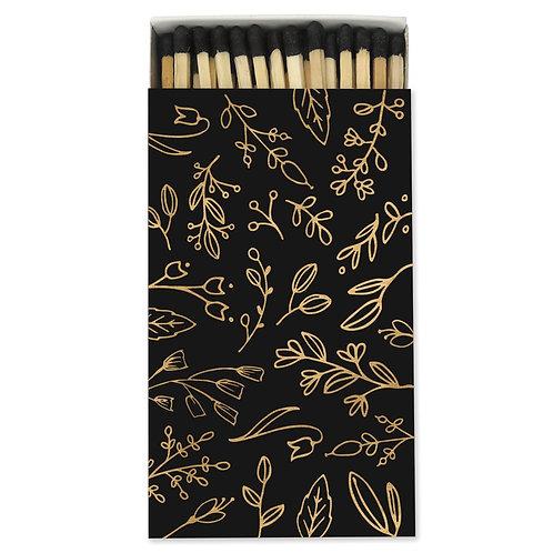 Large black & gold floral match box