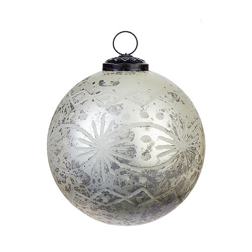 """4.75"""" Etched Mercury Ball Ornament"""