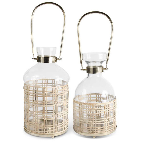 Metal/Glass and Bamboo Weave Lanterns