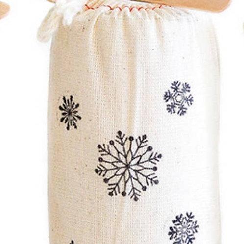Snowflake Stamped Bag with Caramel Sauce
