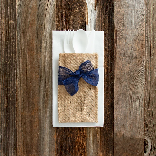 Navy Ribbon Cutlery Pouches