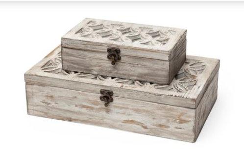 DECORATIVE WOOD BOXES, SET OF 2