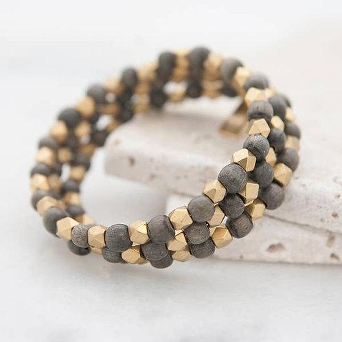 Triple Wrap Bracelet, grey