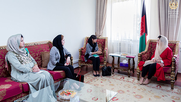 Deputy Foreign Minister for Economic Affairs, Adela Raz, right, with Afghan Women's Chamber of Commerce and Industry Presdient, Manizha Wafeq, center