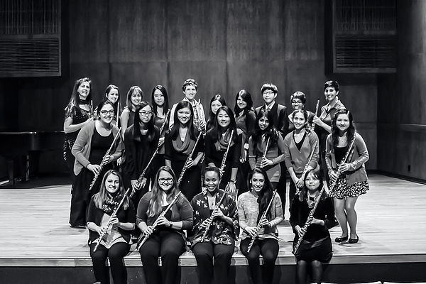 Members of Professor Marianne Gedigian's University of Texas Butler School of Music Flute Studio