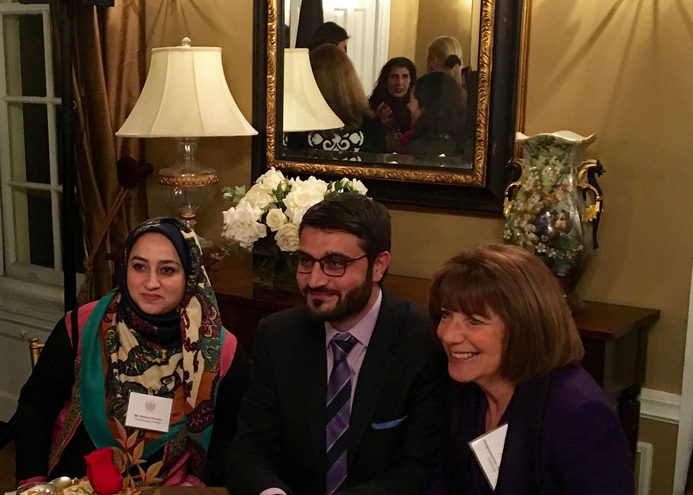 Left to right: Wasima Shinwari (Russell Sage 2016), His Excellency Ambassador Hamdullah Mohib, Congresswoman Susan Davis (D-CA)
