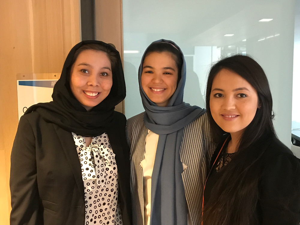 The Initiative To Educate Afghan Women Class of 2018! L to R: Marzia Hosseini (Montclair State University), Fereshta Noori (Smith College), and Azada Ahmadi (Meredith College)