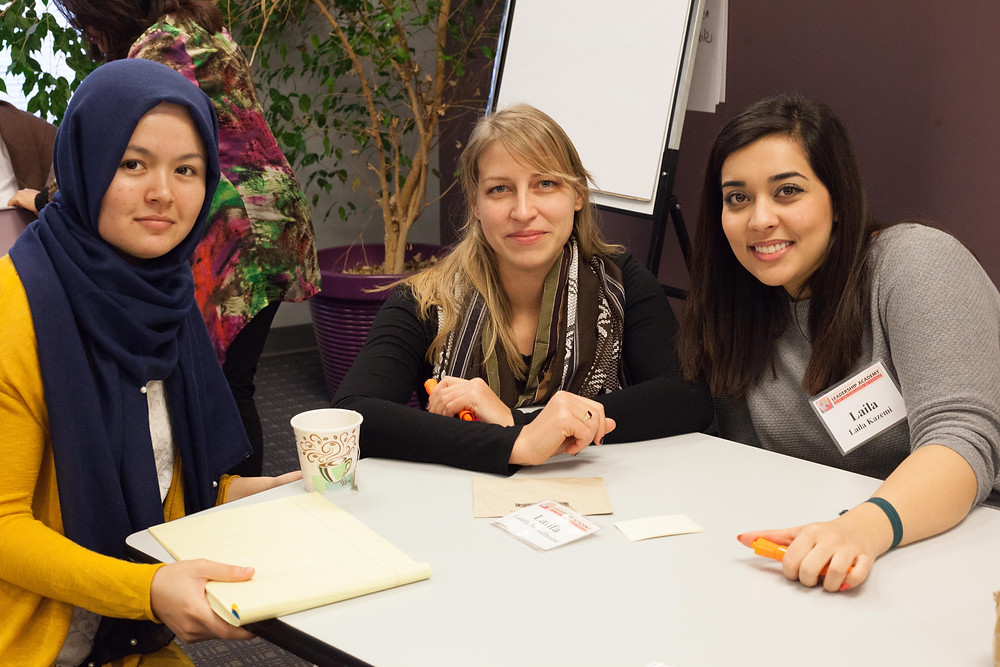Robin Ryczek, center, with Ihrar Mohammadi (Russell Sage 2016) and Laila Kazemi (Meredith 2019