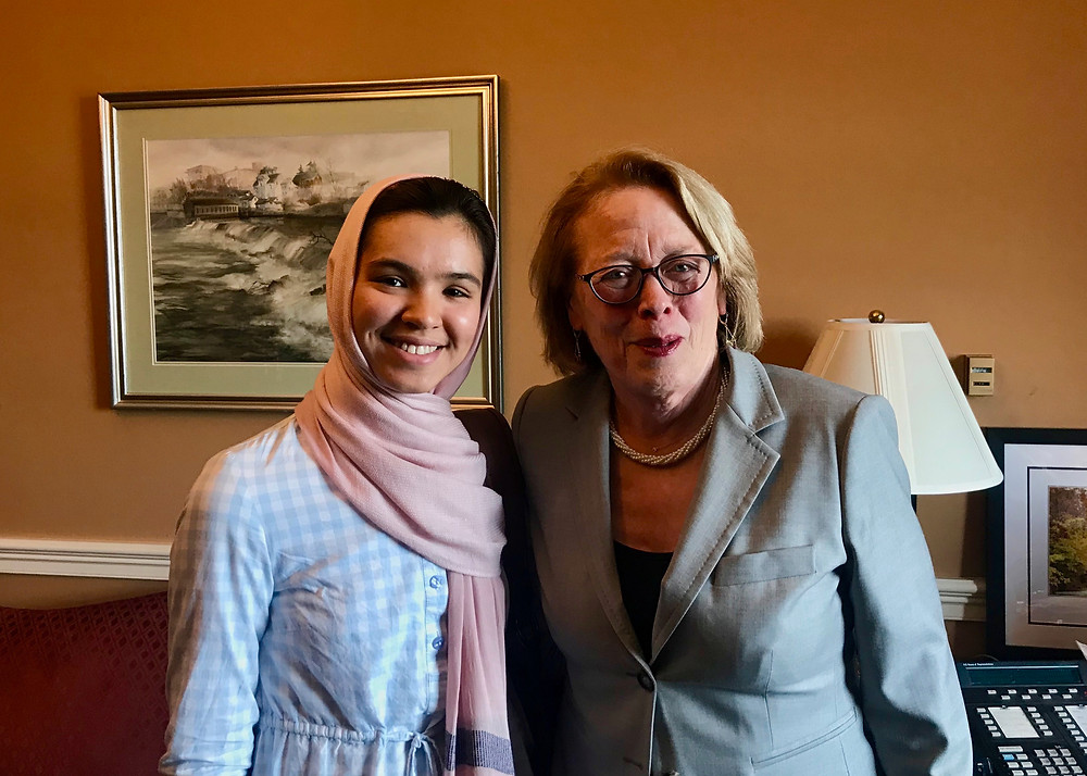 L to R:Fereshta Noori (Smith College 2018) and Congresswoman Niki Tsongas (Smith College 1968)
