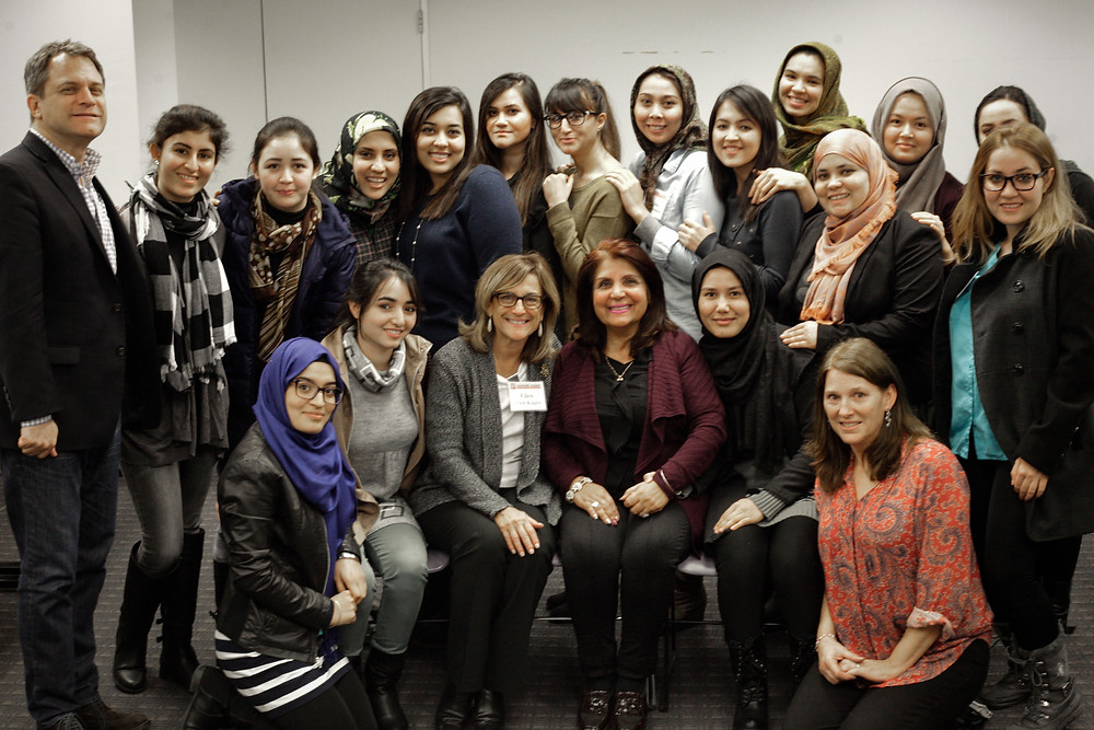 Students with Executive Director Christian Wistehuff, left, Leadership Academy lecturers, Ellen Kagen and Latifa Woodhouse, center, and Montclair State host mother Geri Abdoo, right