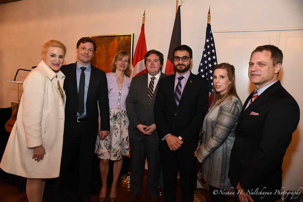 Left to right: Dr. Christine Warnke, Host Committee; Danish Ambassador Lars Gert Lose and Ulla Rønberg; John McCarthy, Host Committee; Afghan Ambassador Hamdulla Mohib and Lael Mohib; Christian Wistehuff, Executive Director