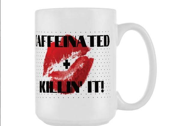 Caffeinated & Killin' It- 15oz Diner Mug