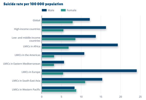 Gráfico: Taxa de suicídio por 100.000 habitantes