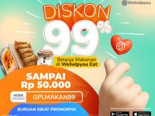 Special 9.9, Super Diskon 99% Pesan Makan di Wehelpyou Eat