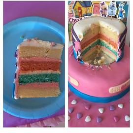 Multicolor DIY Doc McStuffins cake! A tr