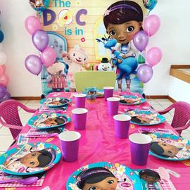 DocMcstuffins birthday party setting and