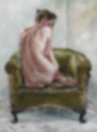 Nude on Green Chair 5, 2010, oil on canv