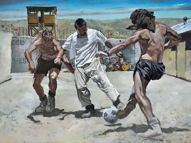 Football under the Watchtower, 2007, oil