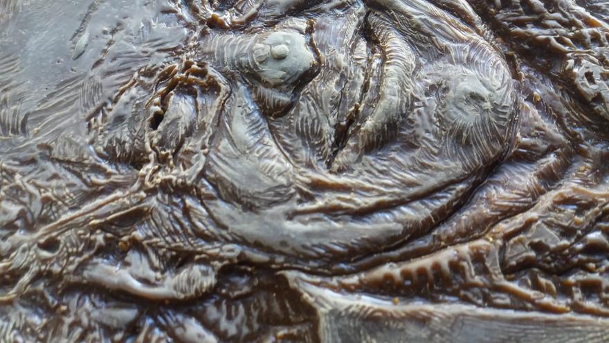 Detail of relief portrait, 2018 (lost wax Bronze)