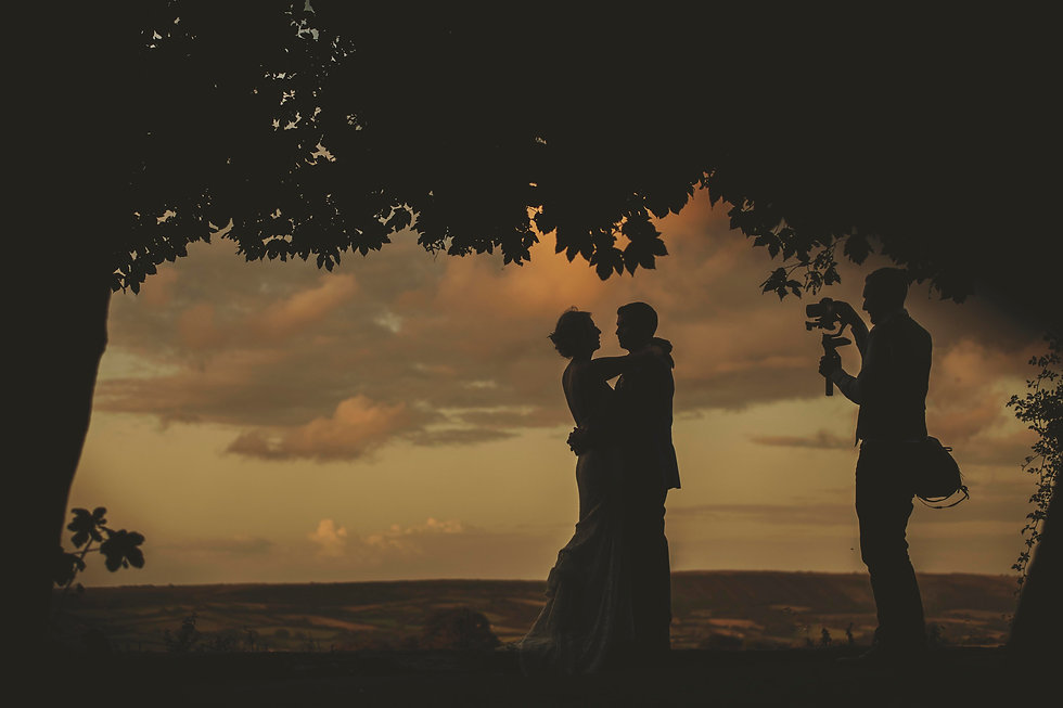 Hampshire wedding videography - Chris from Spice wedding films captures a bride and groom at sunset