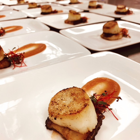 Sous Vide Pork Belly with Seared Scallop and Apple Purée