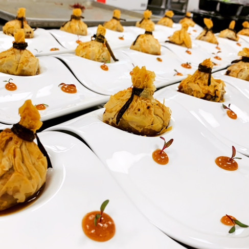 Duck Confit in Phyllo Dough Purse with Apricot Jam