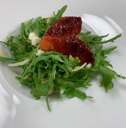 Frisée Salad with Roasted Blood Oranage and Feta Cheese
