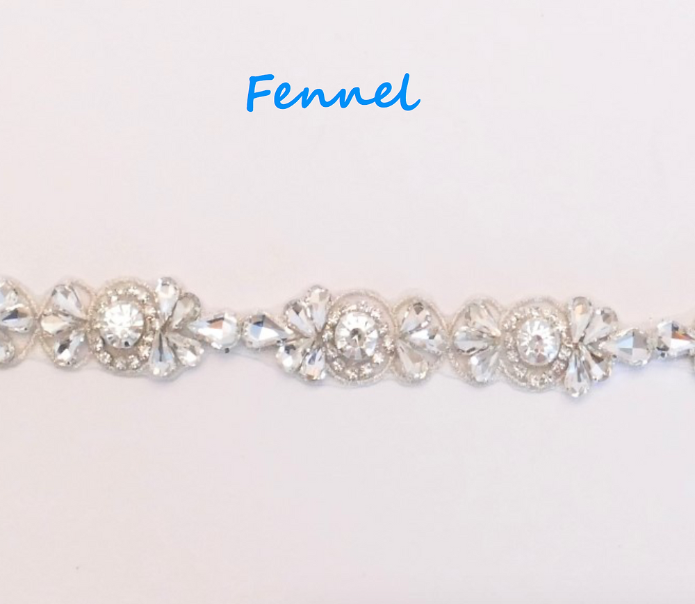 "Outlined with silver thread and containing premium crystals, this flexible, beautiful trim. 2cm (3/4"")"