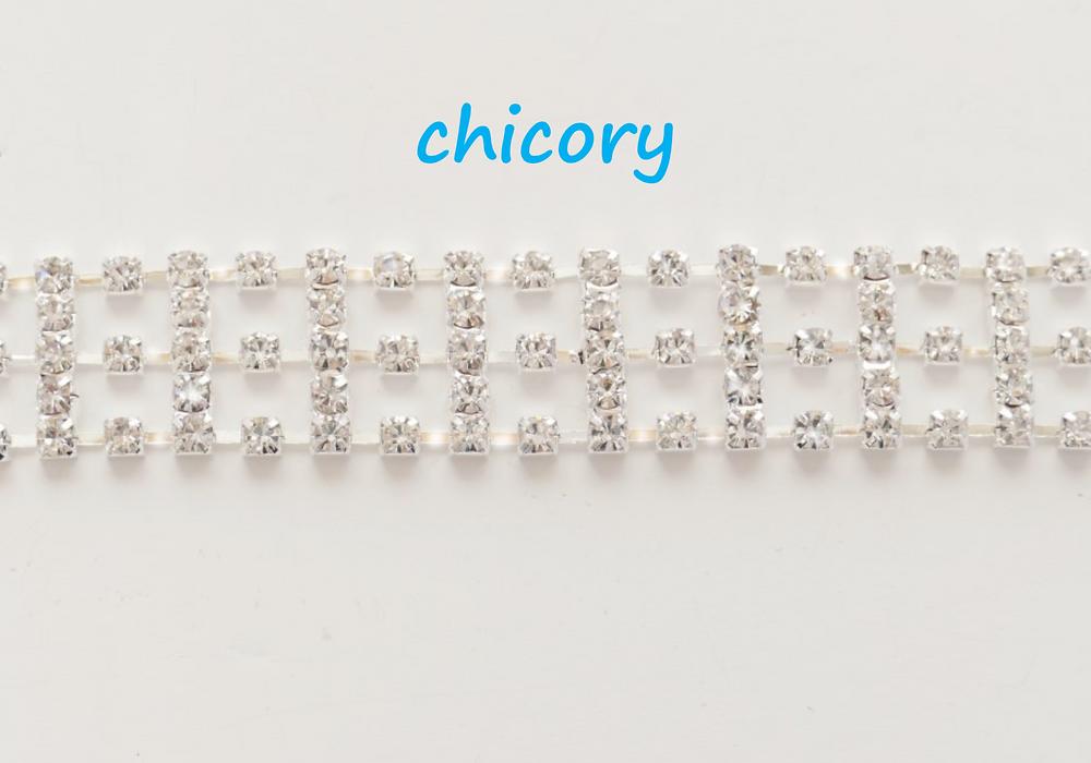 """A modern, silver metal-based rhinestone link trim 1.5cm (3/4"""")"""