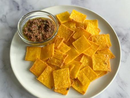 Polenta Chips with Kalamata Olive Tapenade