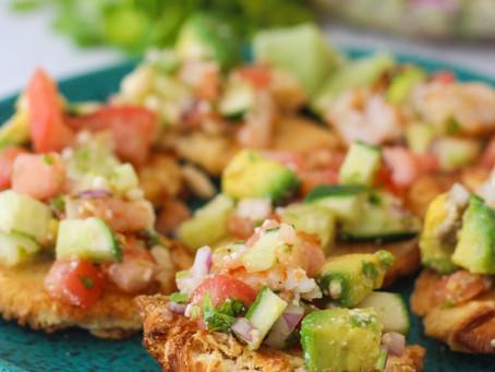 "Shrimp and Avocado Salad with ""Mi Cosecha Tostones"""