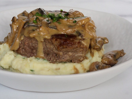 Seared Filet Mignon with Creamy Mushroom Sauce and Perfect Mashed Potatoes
