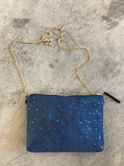Dulce Clutch & Chain Strap (confetti indigo)