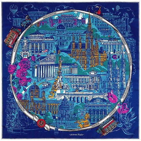 "Blue silk scarf ""Vienna's Grand Boulevard"" (Ringstraße)"""